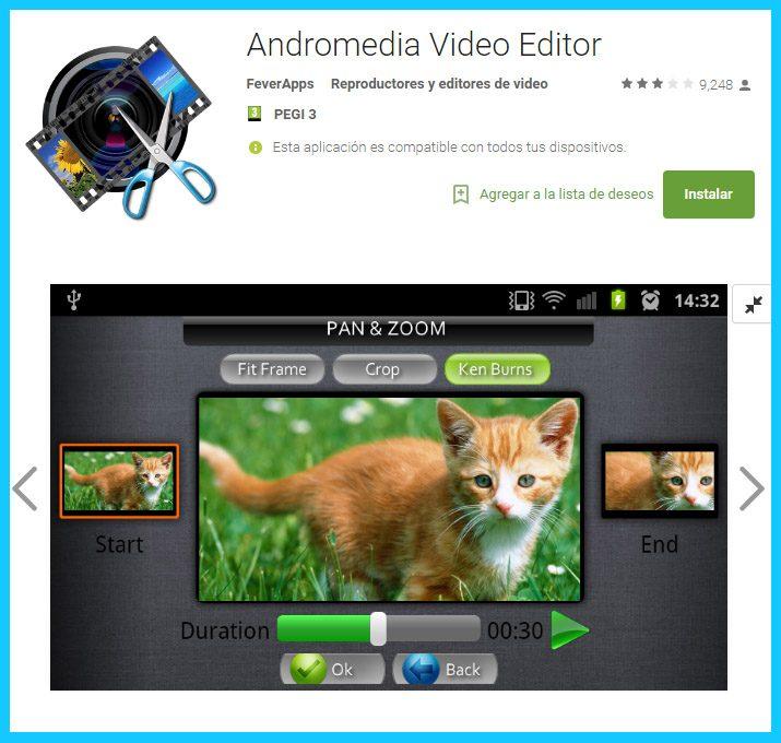 andromedia es una aplicación de edición de vídeos de android