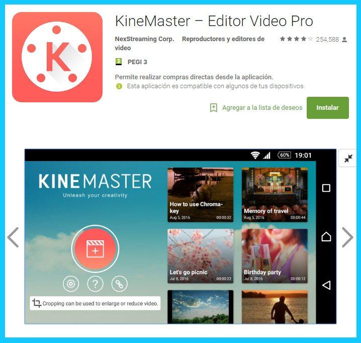 las opciones que te da kinemaster para editar peliculas y clips en android